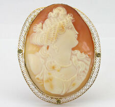 Antique cameo brooch pin pendant 14K yellow gold hand carved shell oval detailed