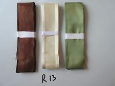 R13 Job Lot 3 Ribbons, Brown, Green & Cream