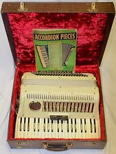 Vintage 1940s Italian White Pearl Piano Accordion, with Case and Music Book