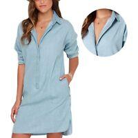 Women Casual Long Sleeve Loose Short Denim Jean Dress Solid Blue Shirt Dress M46
