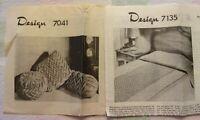 Vintage UNUSED 60'S Design Pattern & Trandfer for Smocked Pillows & Bedspread