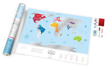 BIG SILVER SCRATCH OFF TRAVEL MAP + GIFT TUBE DETAILED WORLD PUSH PIN POSTER