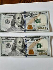 hundred dollar bills 2017 A PF 00228818* 00228819*  Star notes Pair