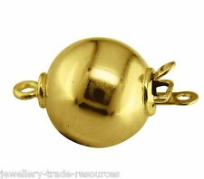 9ct Yellow Gold 8mm Round Pearl / Bead Necklace Jewellery Clasp Catch