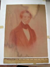 """Vintage ART DRAWING of Early GENTLEMAN,Pastel on Linen,19th Century,15 1/2""""x 12"""""""