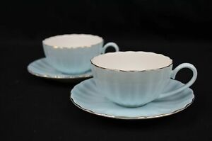 Set Of Two Fine Bone China Tea Cup And Saucer 220 Ml (Baby Blue)