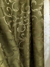 OLIVE GREEN GOLD Brocade Flower Floral Upholstery Fabric (110 in.) Sold BTY