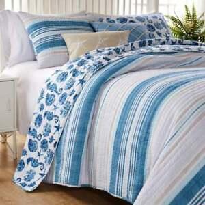 Queen Size Bedding Quilt Set Ocean Blue Beach Resort Seashell Coastal Stripe 3Pc