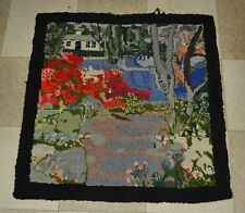 Antique American 19th Century Pictorial Hooked Rug