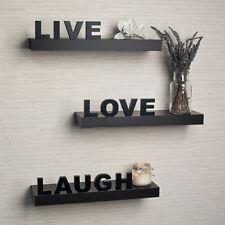 "Danya B™ Decorative ""Live"" ""Love"" ""Laugh"" Black Wall Shelves (Set of 3) YU075"