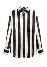 BALMAIN x H&M Womens Black+White Silk Striped Long-Sleeve Blouse Shirt 6 NEW