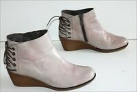 DANSI Boots Compensées Cuir Gris Clair Doublées Cuir T 38 TBE