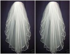 Hot 2 Layer White Wedding Veil Bridal Veils Satin Edge With Comb Free shipping