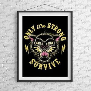 Only The Strong Art Print-Tattoo-Alternative-Home-Rebels-Fashion-Moth-Studio