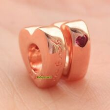 2pcs 925 Sterling Silver Two Hearts Spacers Rose Gold Red CZ Charm Fit Bracelet