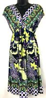 New Directions women's multi-color dress size Medium V-neck, cap sleeve