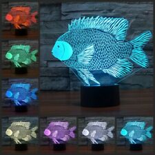 3D illusion 7 color tropical fish led touch table night light lamp kids lights