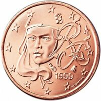 Monnaie 1,2,5 centimes cent cts euro France 1999, neuves du rouleau, UNC