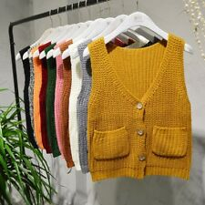 Women Knitwear Waistcoat Pullover Knit Vest Jumper Sleeveless Cardigan Button