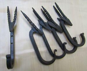 5 X GAZELLE HOOK  Iron hand forged blacksmith utility coat keys hanging hooks