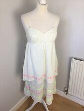 DKNY jeans Ladies White Neon Summer Strappy Cotton Midi Dress Size Medium