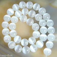 "10mm Natural White Cat Eye opal Stone Round Gemstone Loose bead 15"" AAA"