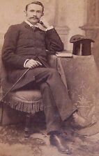 ANTIQUE CABINET PHOTOGRAPH-MUSTACHED MAN CANE TOP HAT-LOTHROP-PHILADELPHIA