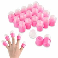 20Pcs Wearable Nail Acrylic Soaker Kits Polish Remover Gel Removal Cap Tip Pink