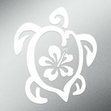 "Hibiscus Turtle Flower Animal Vinyl Decal 5.5 X 4.7"" White"