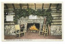 Vintage New Hampshire Linen Postcard Interior Lost River Shelter White Mountains