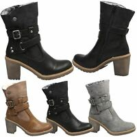 Ramona Womens Mid High Block Heels Ankle Boots Biker Ladies Two Tone Shoes Size