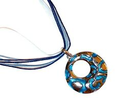 NECKLACE/PENDANT Organza Ribbon & Cord BLUE CIRCLE
