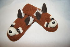 deLux tag ~ RED PANDA MITTENS knit ADULT raccoon fox FLEECE LINED animal costume
