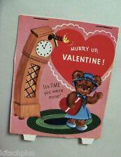 Vtg Valentine Card Flocked Dressed Teddy Bear Grandfather Cuckoo Clock Unused