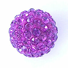 10 Fuchsia Rhinestone clay pave 10mm beads for Shamballa Bracelets
