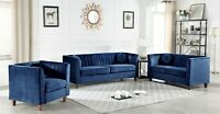 Lowery Luxuriously Velvet 3 Piece 2-Piece Sofa Loveseat Chair Living Room Set