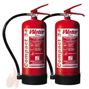 NEW x2 - 6 LTR WATER ADDITIVE FIRE EXTINGUISHER HOME/OFFICE - WSEX6A