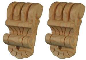 Chic Wooden Applique Brackets, Matched Pair, Paint Grade, Carved Pinewood, PG710