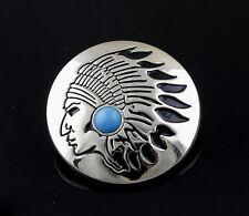 Turquoise Tribal Metal Round Concho Biker Vintage Decorative Button - Screw Back