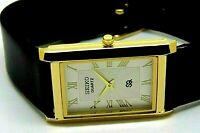 seiko quartz super slim men white roman dial japan made watch run order