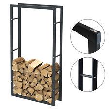 Étagère de cheminée exclusive en métal noir mat Porte bûches cheminée 80x150