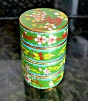 RARE CHINESE STACK-ABLE CLOISONNE ENAMEL TRINKET CANISTER JAR BOX SIGNED