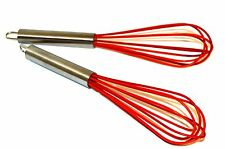 Silicone Whisk Set of 2 - Stainless Steel & Silicone Kitchen Utensil, Red Whisk