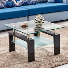 Black High Gloss Glass Coffee Table Side End Table 2 tier Furniture Square