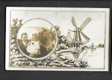pk38468:Real Photo Postcard-Windmill Border-Father,Daughter & Horse Portrait