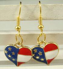 Great New USA US American Flag Heart Star Charm Dangle Hook Earrings