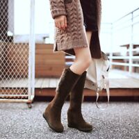 Womens Knee High Boots Suede Hidden Wedge Heels Side Zip Warm Round Toe Shoes