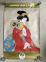 """Japan Airlines Vintage Geisha Poster 20""""x26"""" (Read Description)"""
