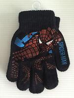 BNWT Boys Super Smart Black Spiderman Print Stretch Warm Acrylic Knit Gloves