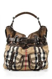 Burberry Womens Leather Plaid Canvas Satchel Brown Large Handbag